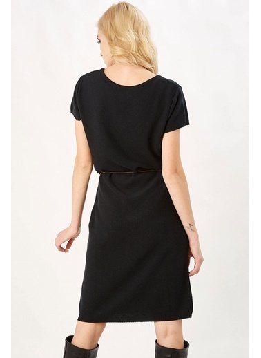 Peraluna Peraluna Siyah Renk Natur Triko Kadın Elbise Siyah